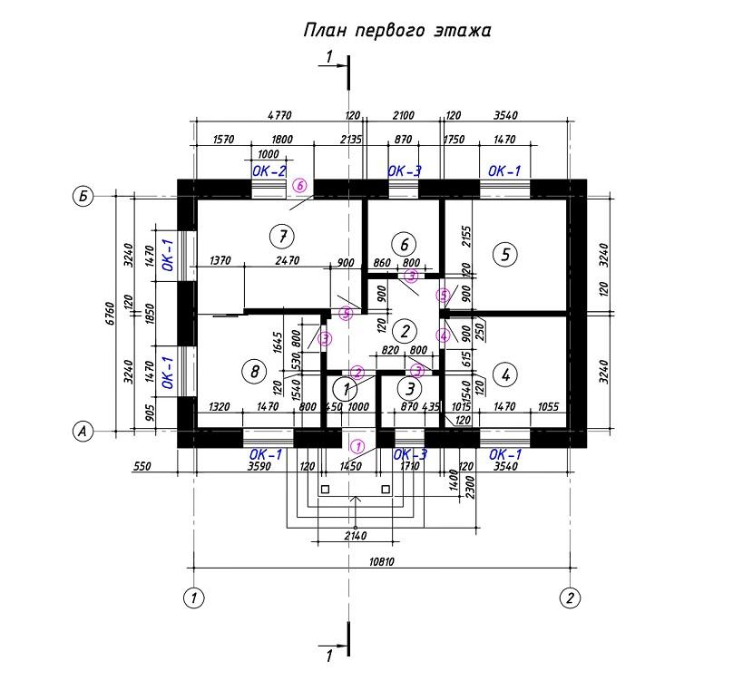 Проект одноэтажного дома 65 кв.м