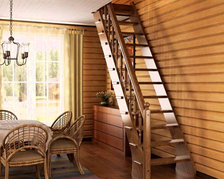 Лестница для дома с креплением тетива