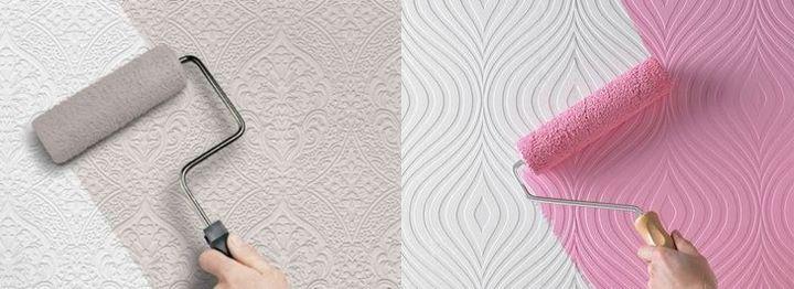 Окрашивание белых обоев краской