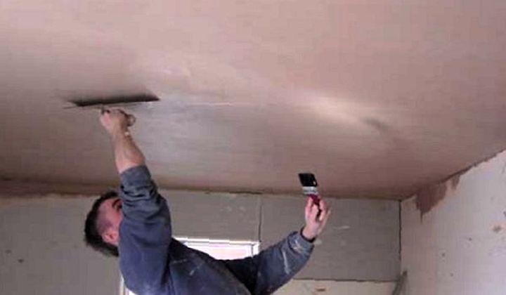 Использование штукатурки на потолке