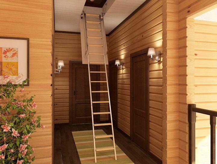 Деревянная конструкция чердачной лестницы