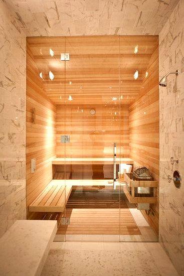 Светлый интерьер бани