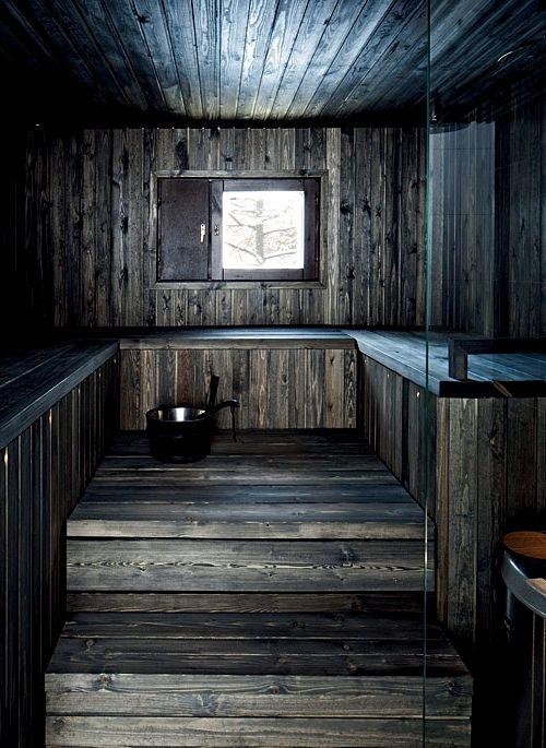 Черное дерево в отделке бани