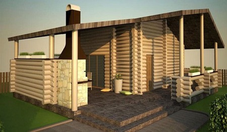 3d проект бани с террасой