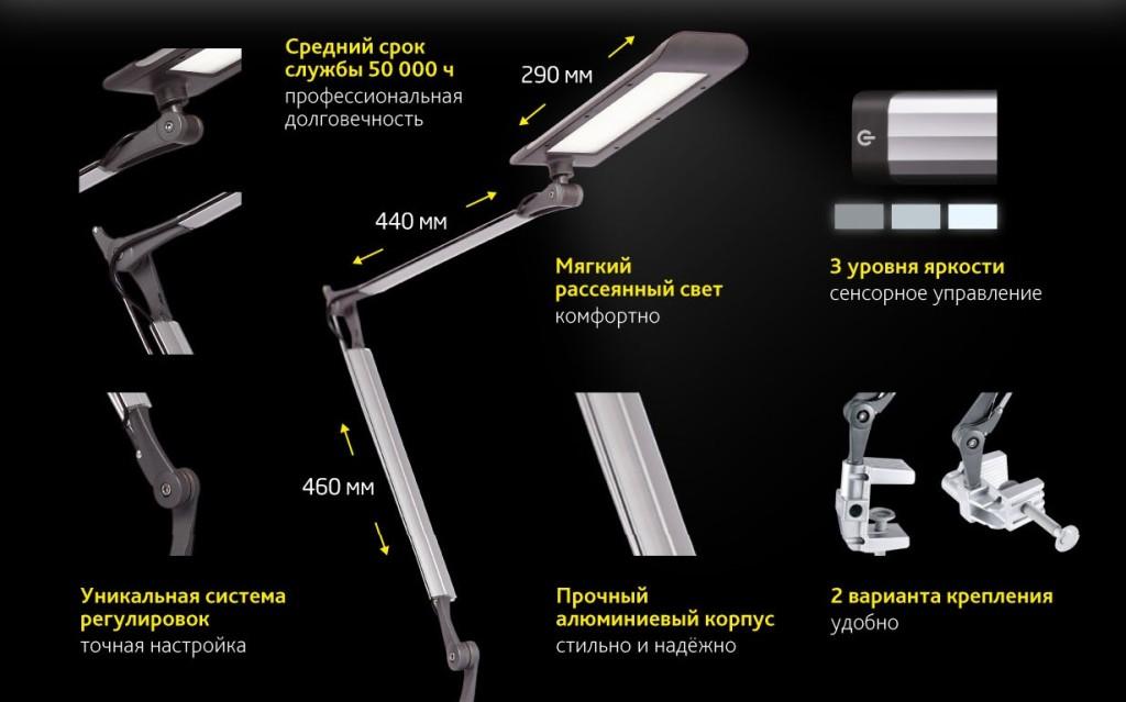 Описание настольного светильника на струбцине