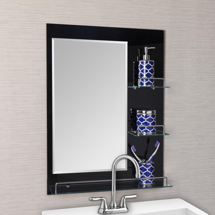 современная полка для ванны с зеркалом