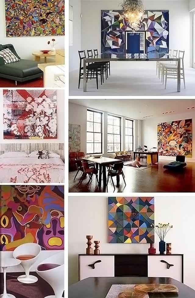 абстрактные картины в интерьере 039-1