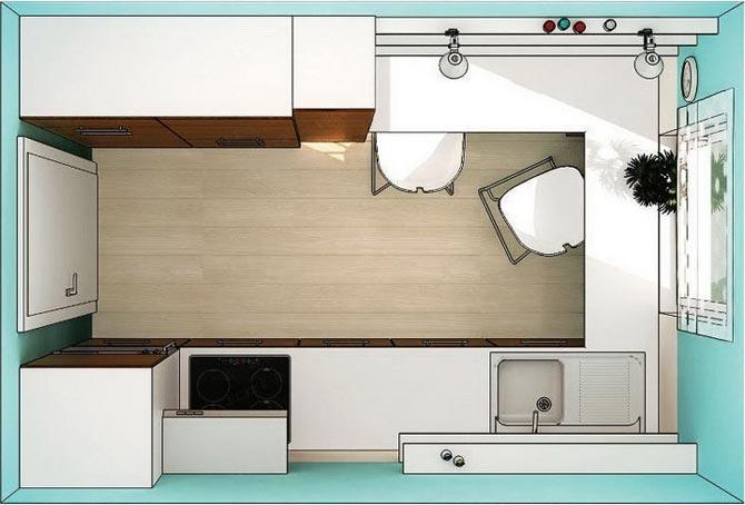 дизайн интерьер маленькой кухни 39