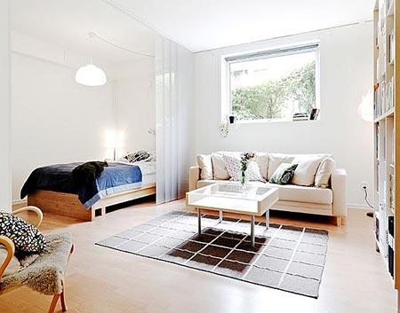 гостиная и спальня в одной комнате 23