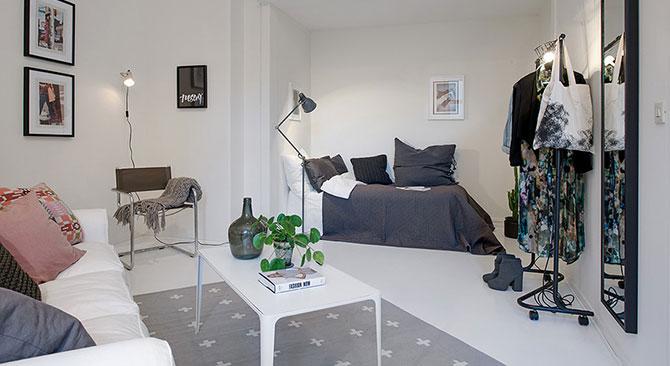 гостиная и спальня в одной комнате 35