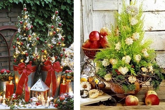 новогоднее украшение дома - маленькие елочки 009