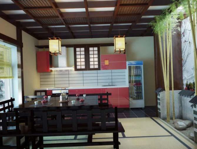 Обои на кухню в японском стиле