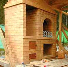 Печь с мангалом и плитой для зоны отдыха на даче (с порядовкой)