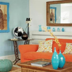 сочетание голубого и оранжевого 09
