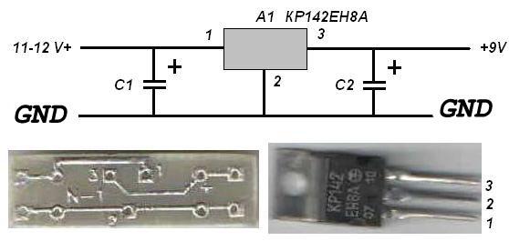 Электрическая схема стабилизатора на микросхеме КР 142ЕН8А