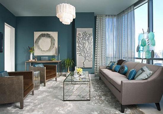 Бирюзовый цвет в гостиной стиля контемпорари