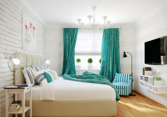 Сочетание бирюзового цвета с белым в интерьере спальни