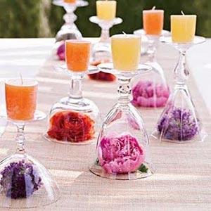 украшение стола цветами и свечами фото2