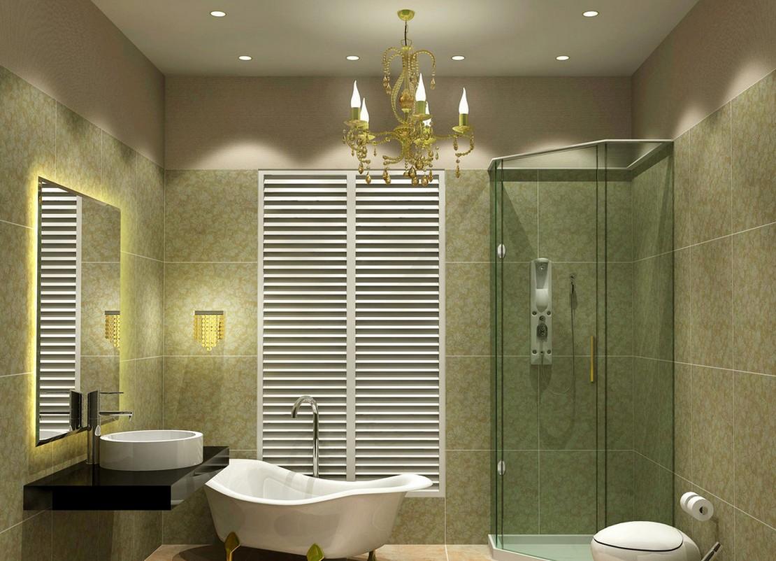 Использование люстры в освещении ванной