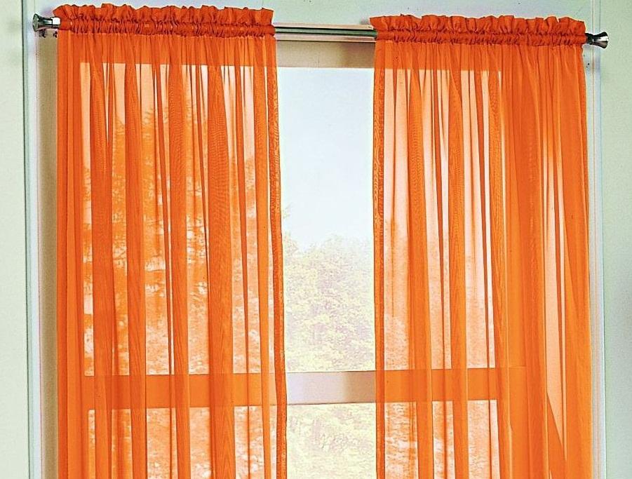 Оранжевая тюль на кухню