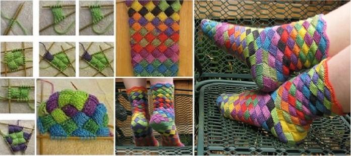 прелестные вязаные носочки цвета радуги