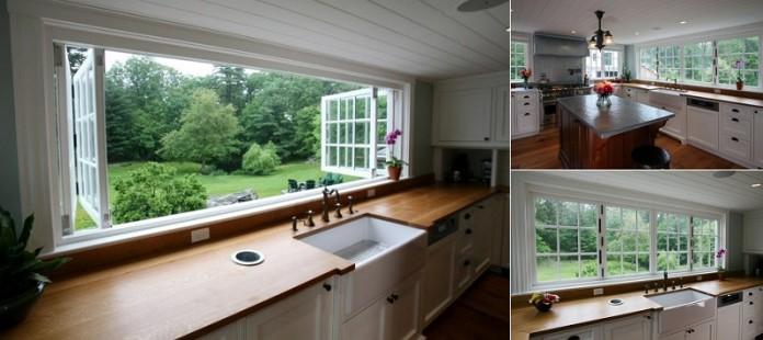 большое окно на кухне