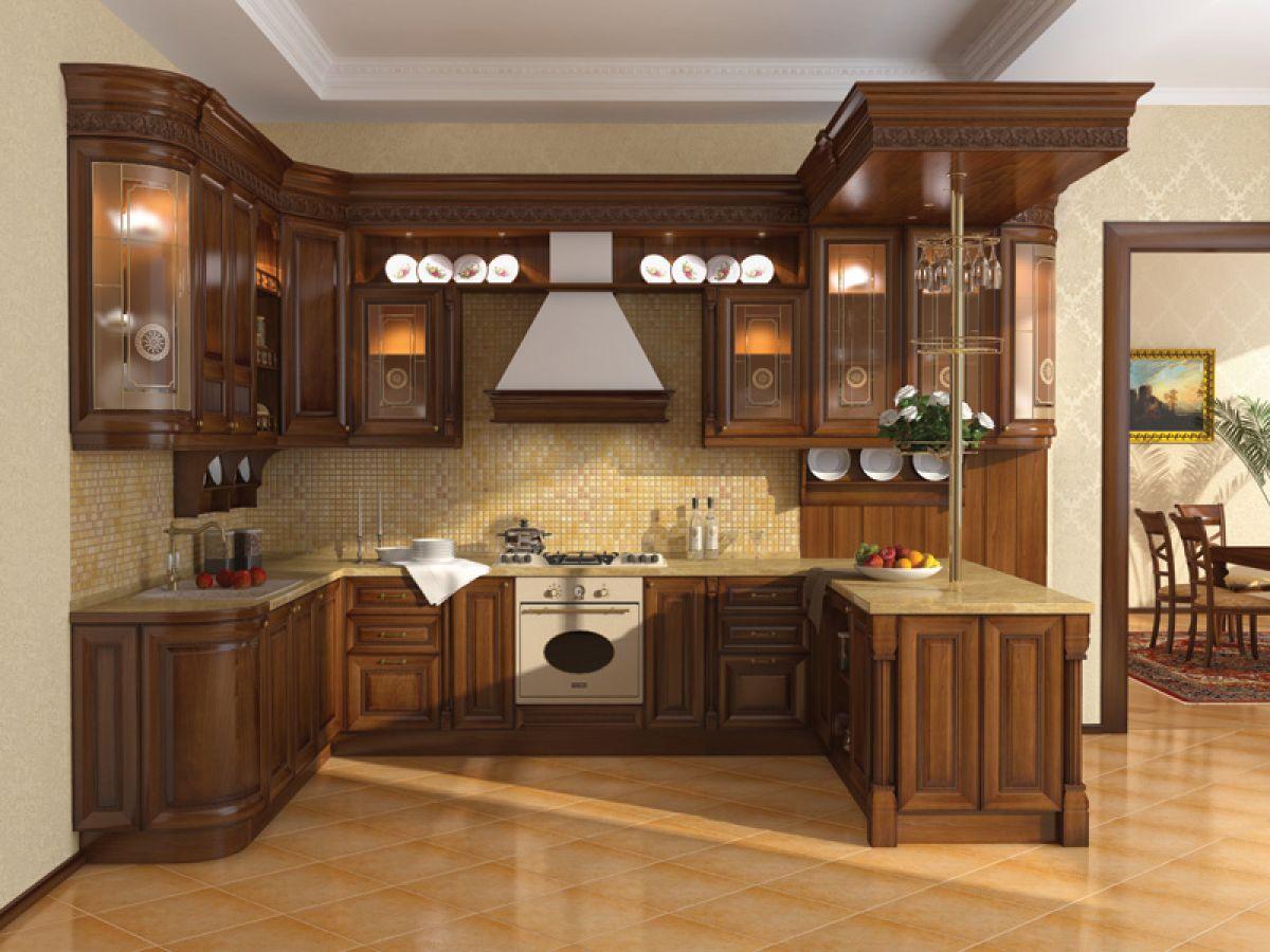 Маленькая угловая кухня из натурального дерева