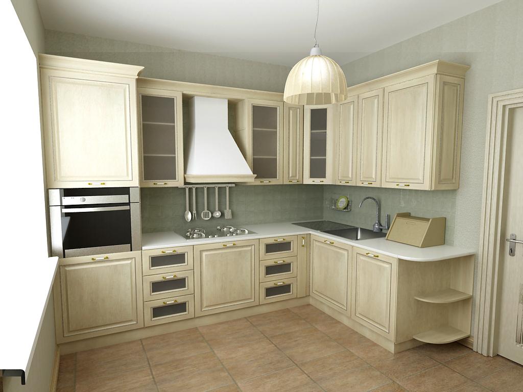 Светлый угловой кухонный гарнитур