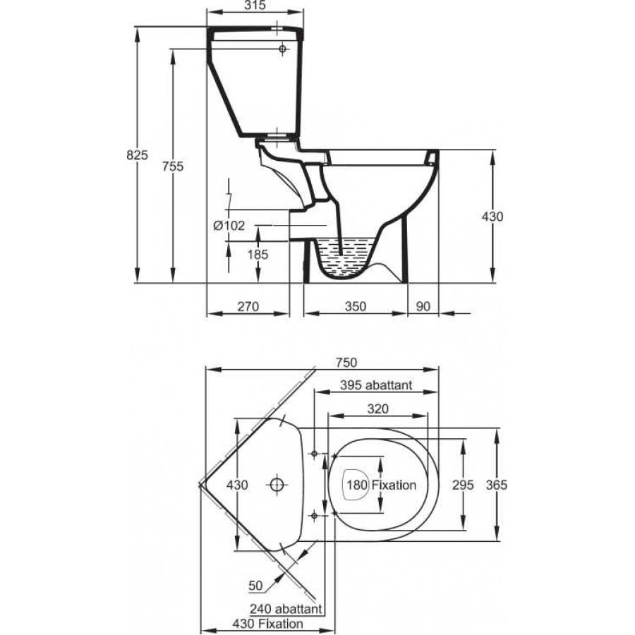Угловой унитаз с бачком схема