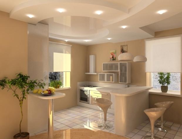 Дизайн потолков из гипсокартона для кухни