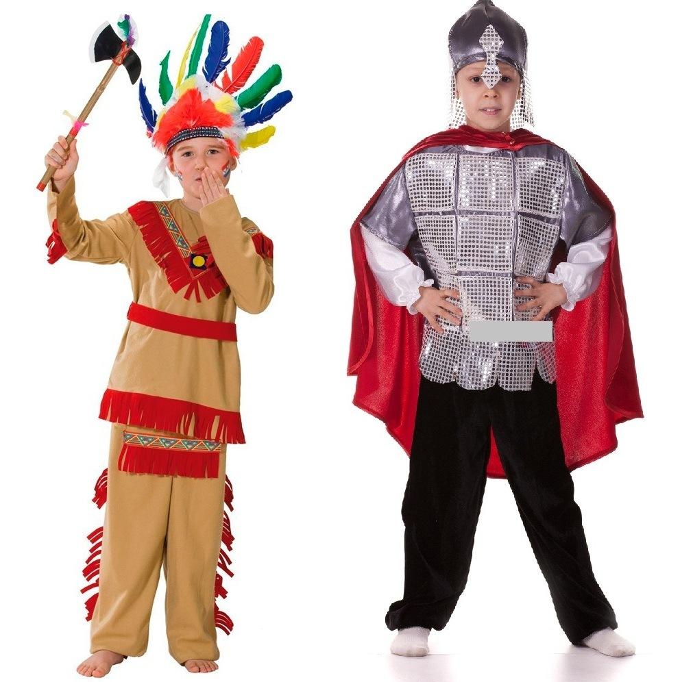 Детские новогодние костюмы индейца и русского богатыря для мальчиков