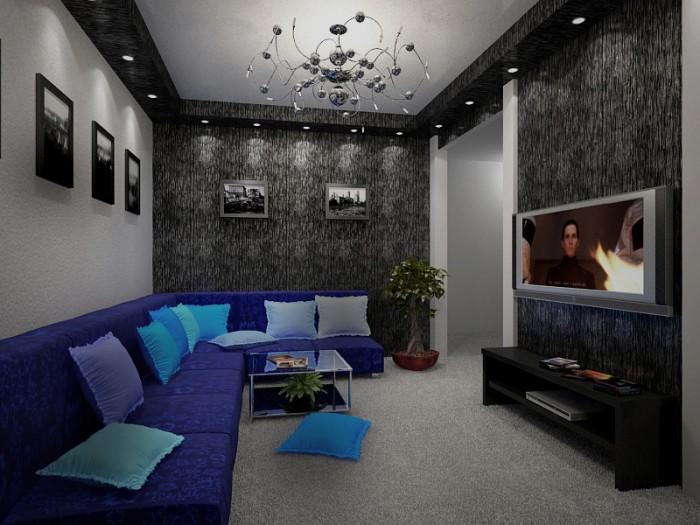 Дизайн потолка изгипсокартона в зале хрущевки