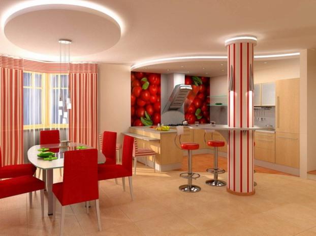 Потолки для кухни-гостиной