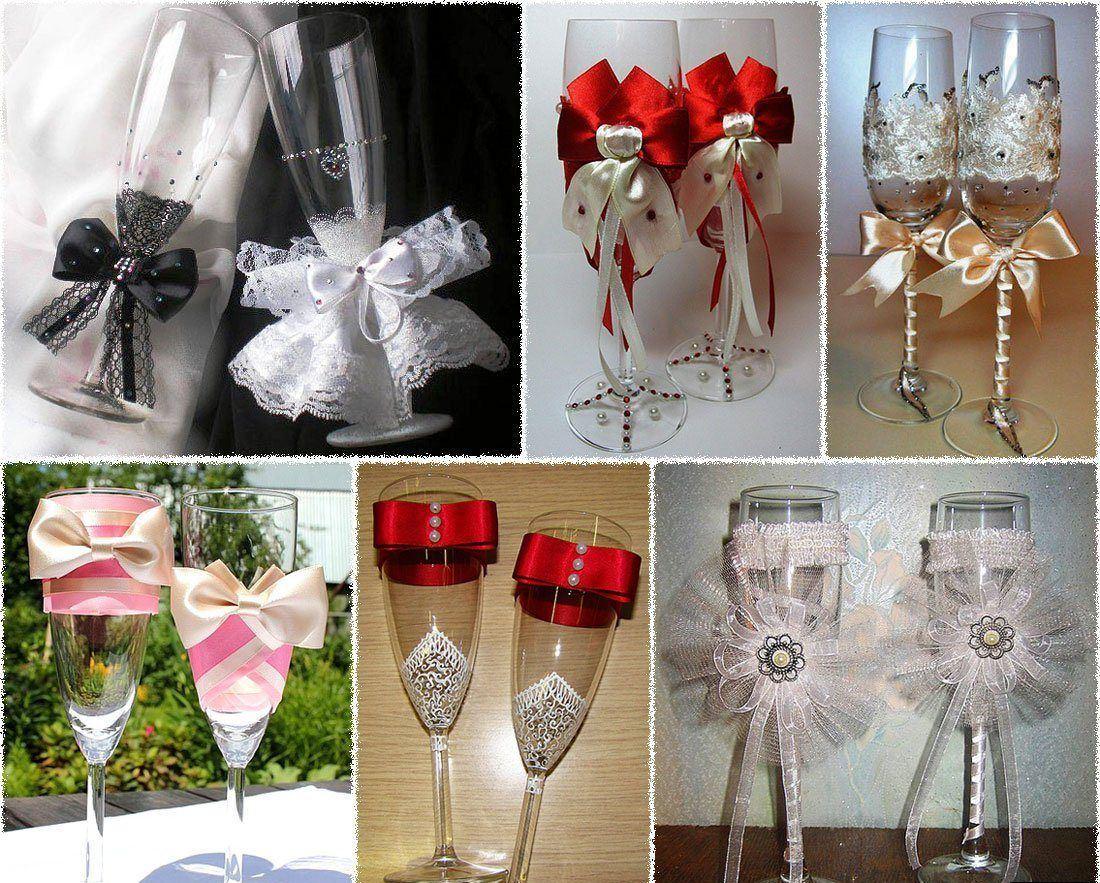 Варианты оформления бокалов на свадьбу