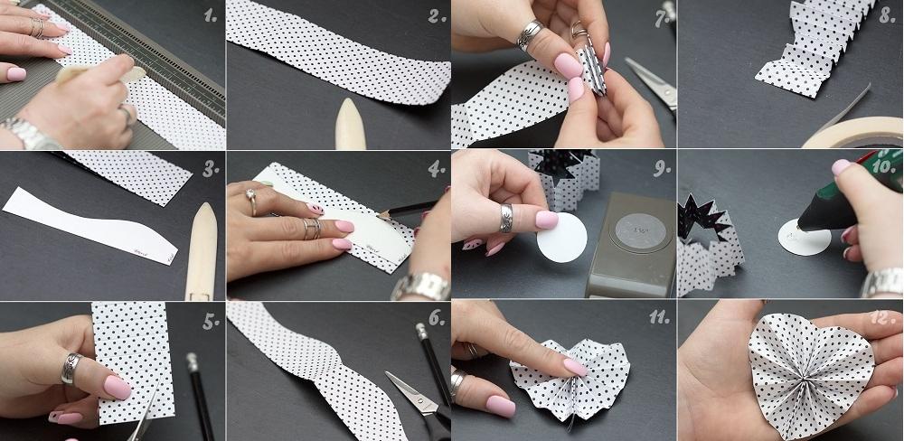Техника изготовления сердечка гармошкой из ткани