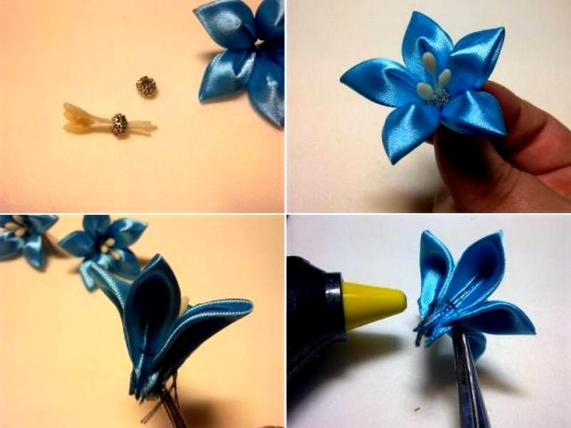 Цветы канзаши своими руками пошаговое фото