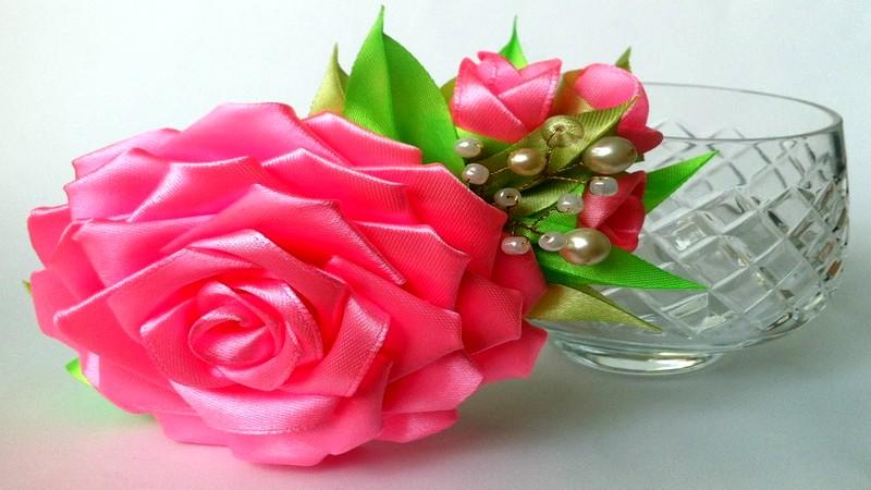 Розы из атласных лент своими руками канзаши