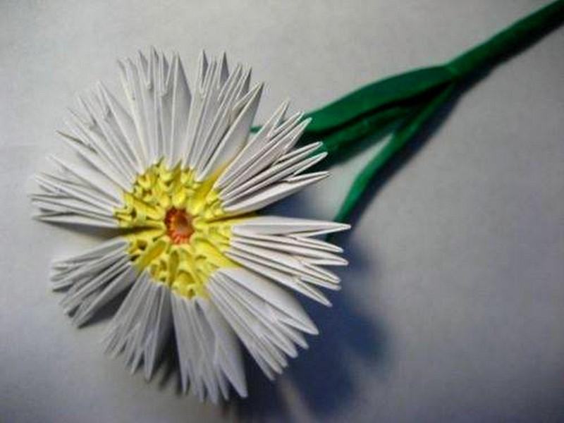 Цветы из модульного оригами схемы ромашка