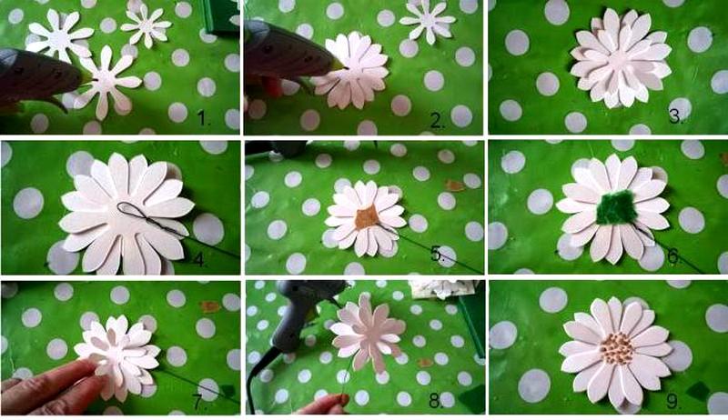 Как сделать цветы из бумаги ромашку