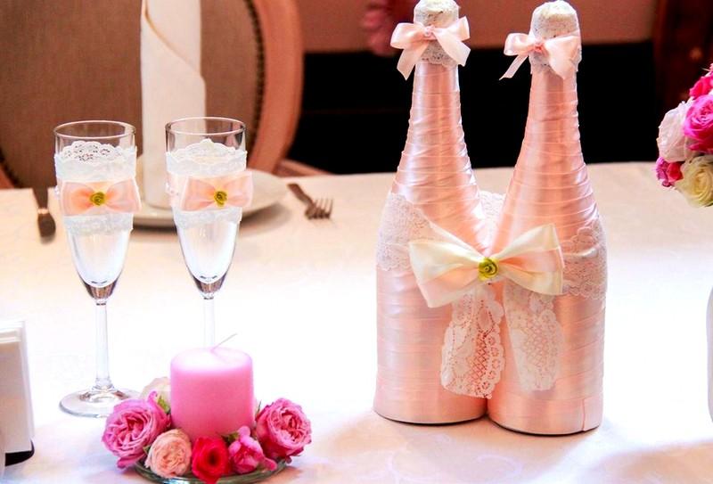 Украшения бутылок для свадьбы своими руками