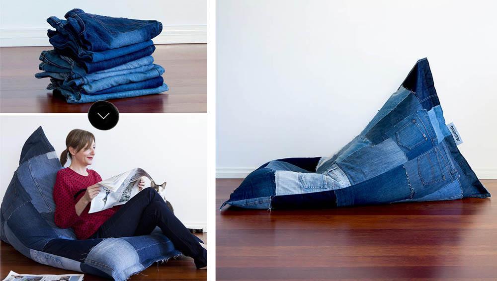 Кресло мешок из старых джинсов