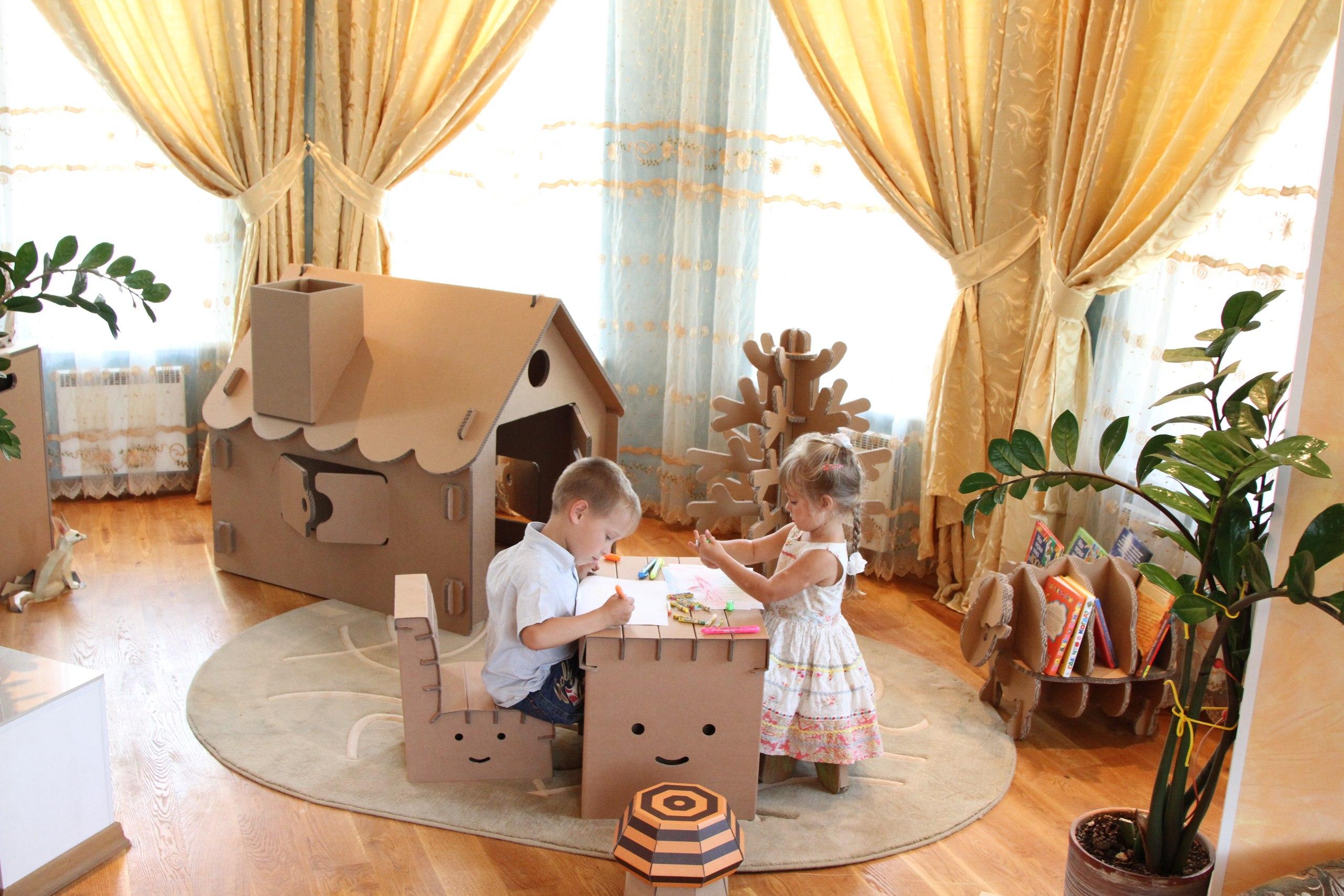 Мебель из картонных коробок для детей