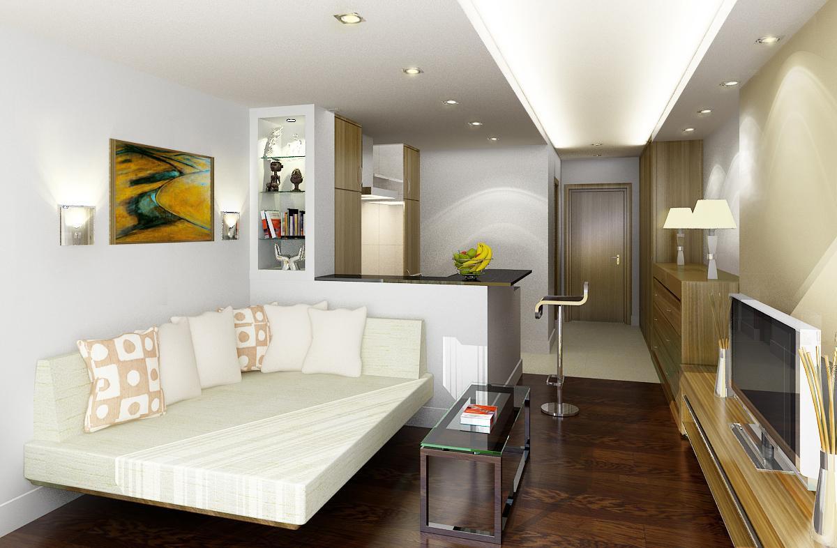 Интерьер квартиры-студии 18 кв. м предполагает использование залы, как в качестве спальни, так и гостиной