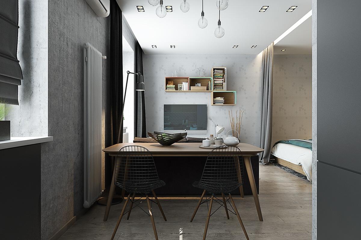 Если площадь не позволяет, но хочется отделить столовую зону, ее можно перенести из кухни в гостиную