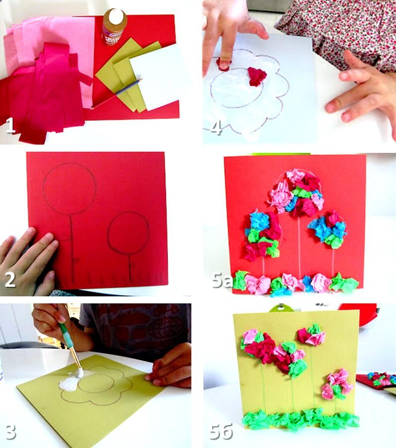 Цветы, открытка на день рождения мамы от дочки своими руками