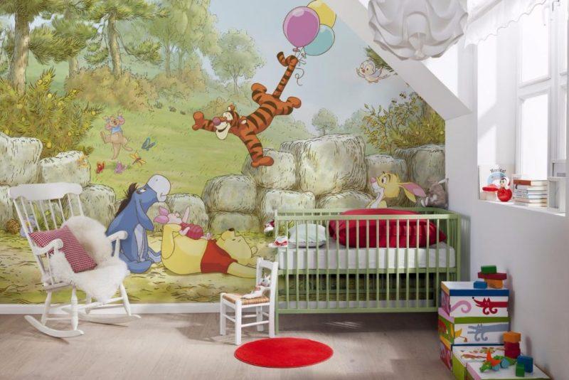 Фотообои с Винни Пухом в детской для малышей