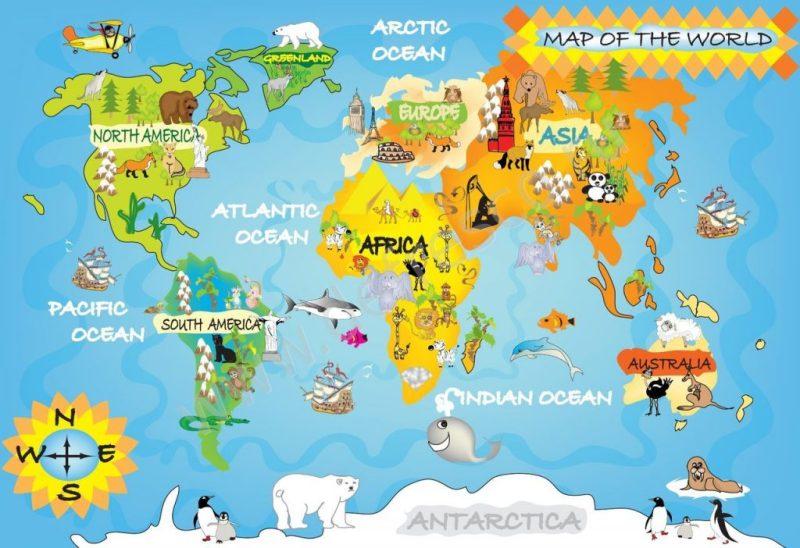 Обои с картой мира с животными
