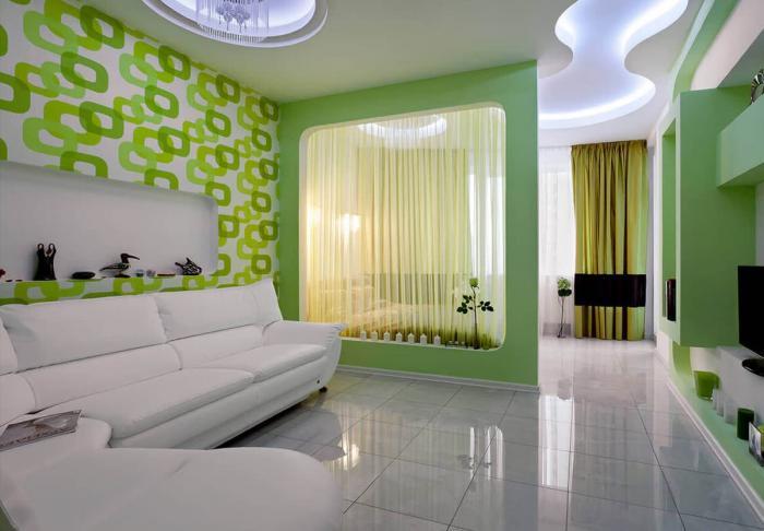 Интерьер спальни-гостиной 1