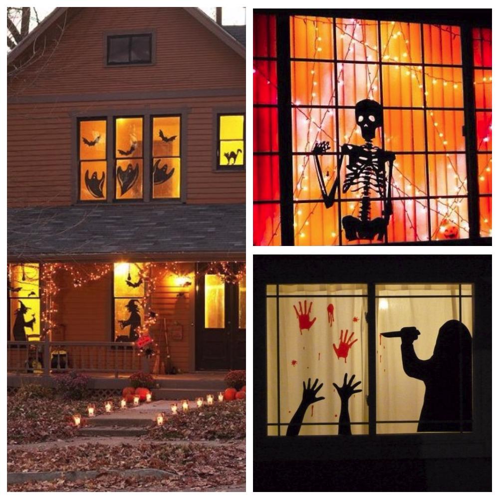 Силуэты на окнах на Хэллоуин