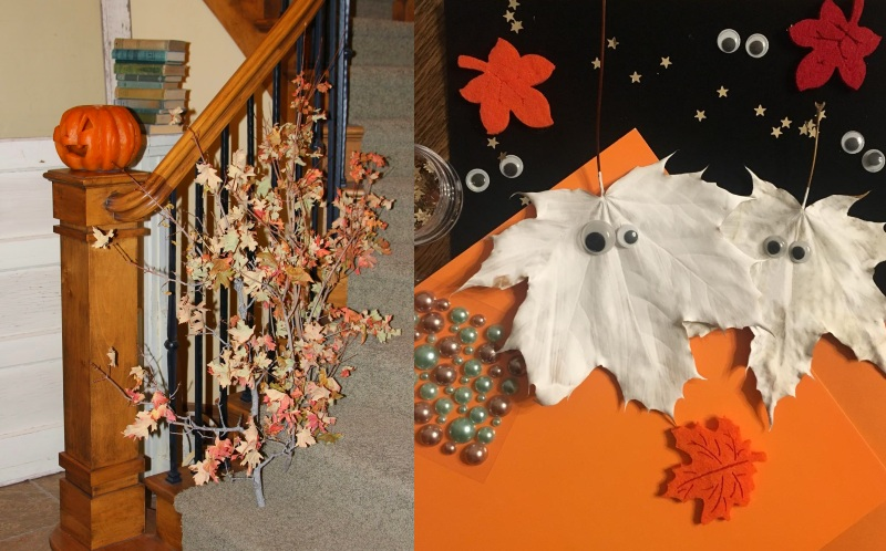 Украшения листьями на Хэллоуин